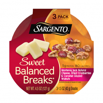 Sweet Balanced Breaks® Monterey Jack Natural Cheese with Dried Cranberries and Caramel Glazed Walnuts
