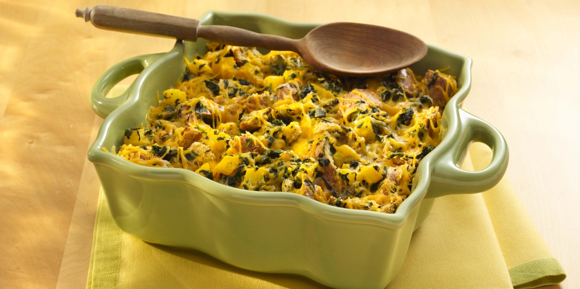 Cheesy Squash and Spinach Bread Pudding