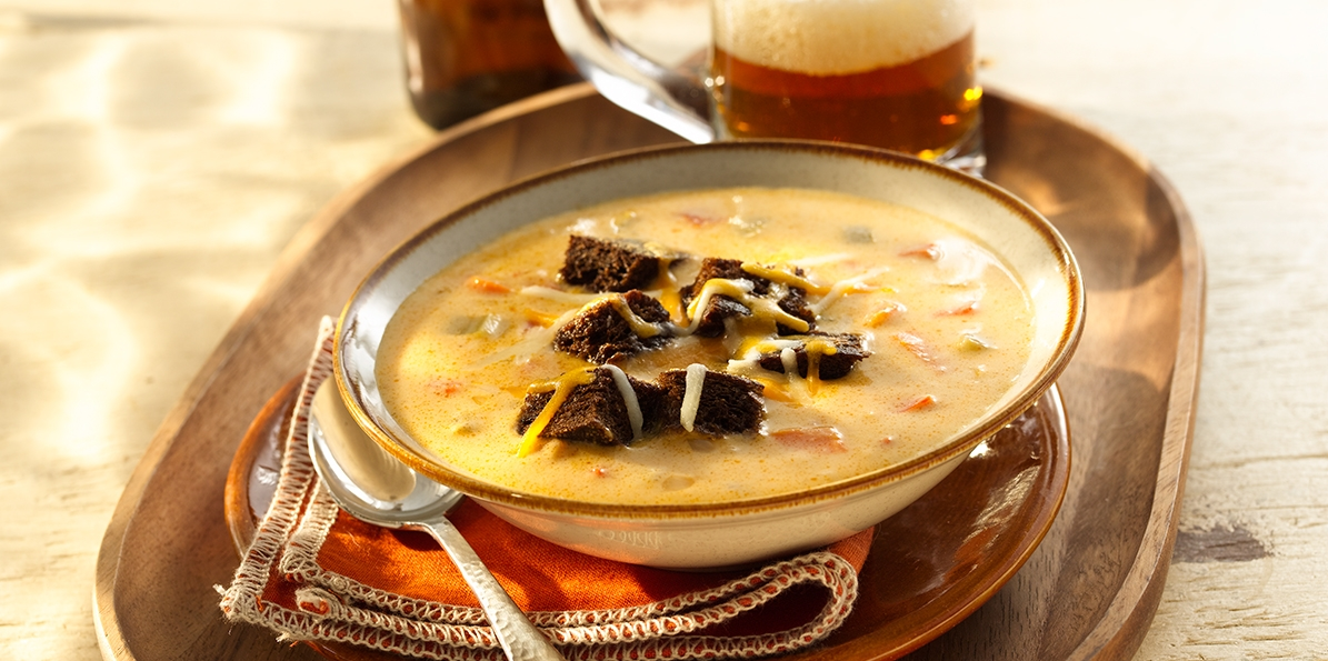Minnesota-Style Beer Cheese Soup with Rye Croutons