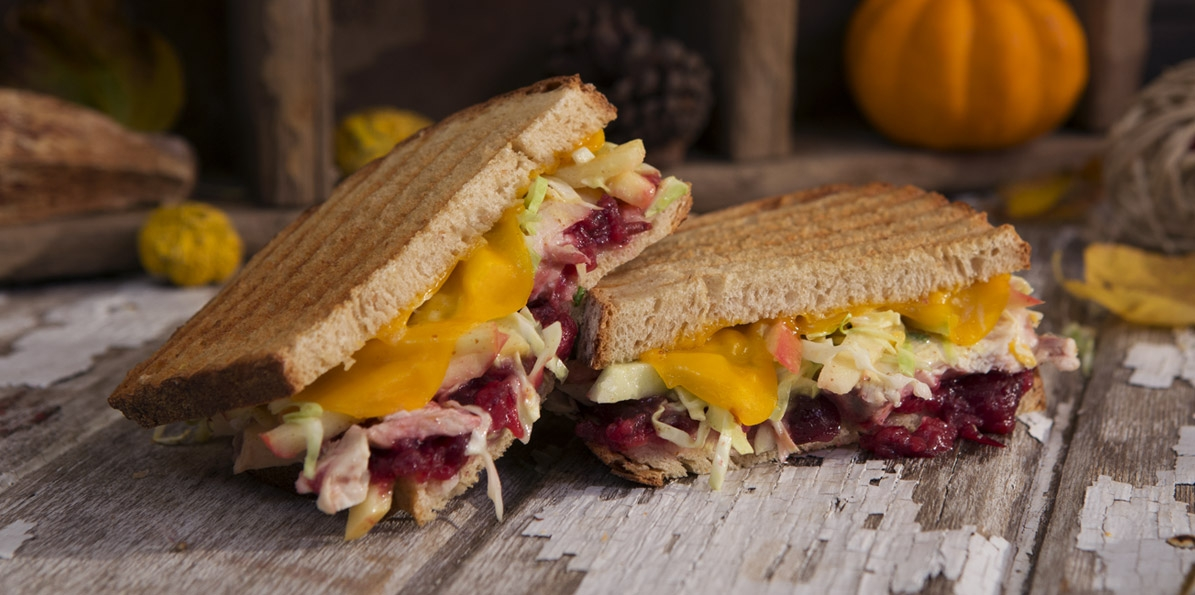 Chicken and Cheddar Panini with Cranberry Apple Slaw