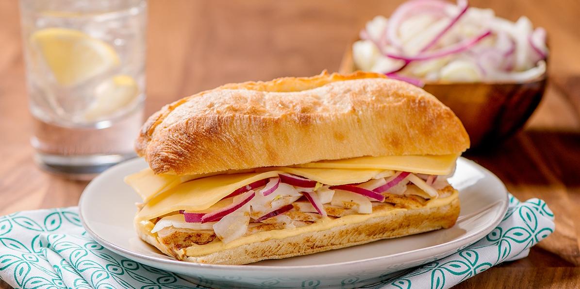 Chicken and Gouda Sandwich with Fennel Slaw