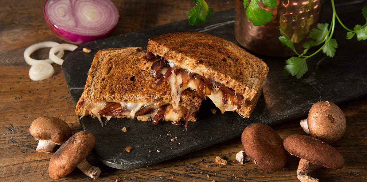 Double Mushroom and Onion Grilled Cheese