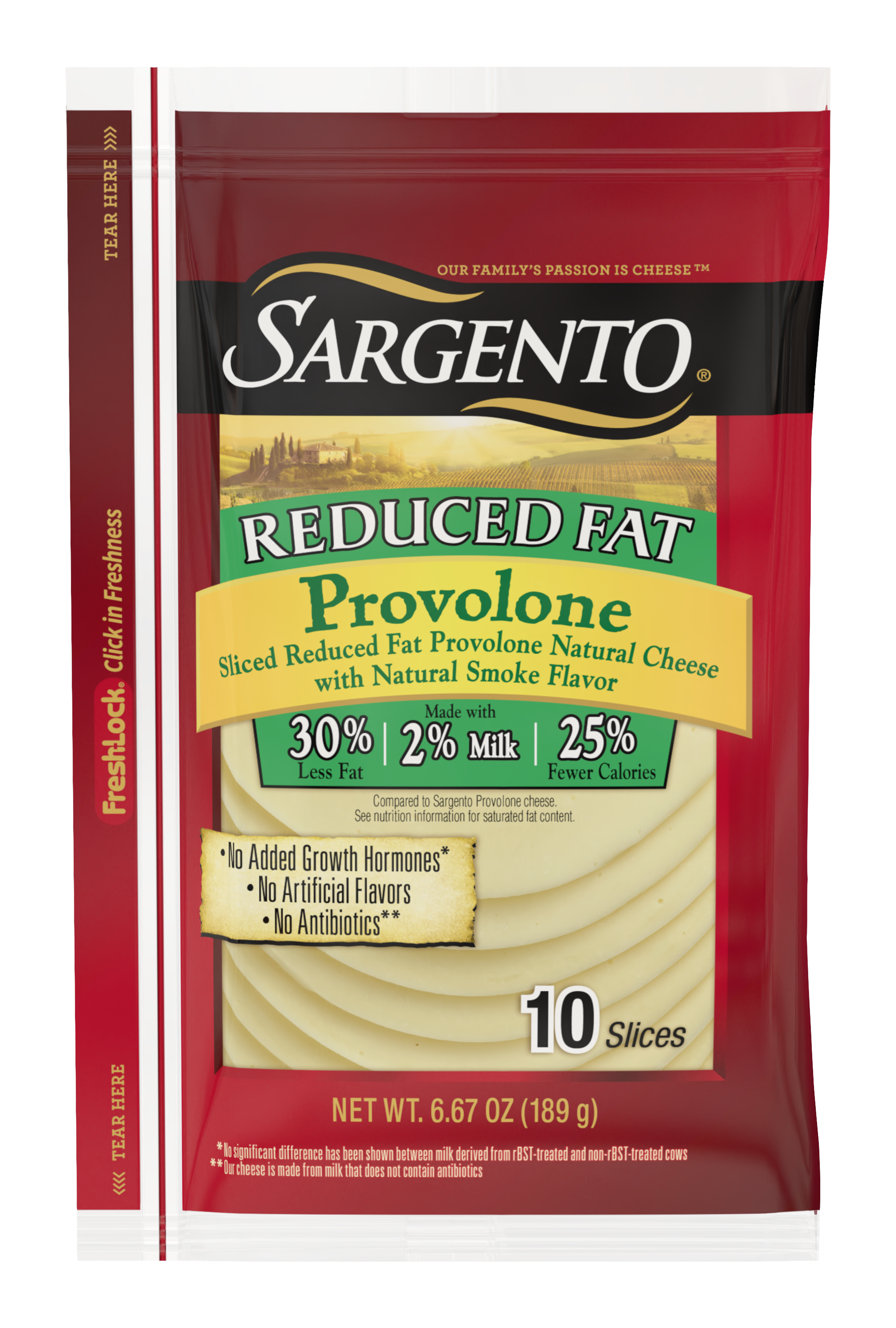 Sargento® Sliced Reduced FatProvolone Natural Cheese with Natural Smoke Flavor