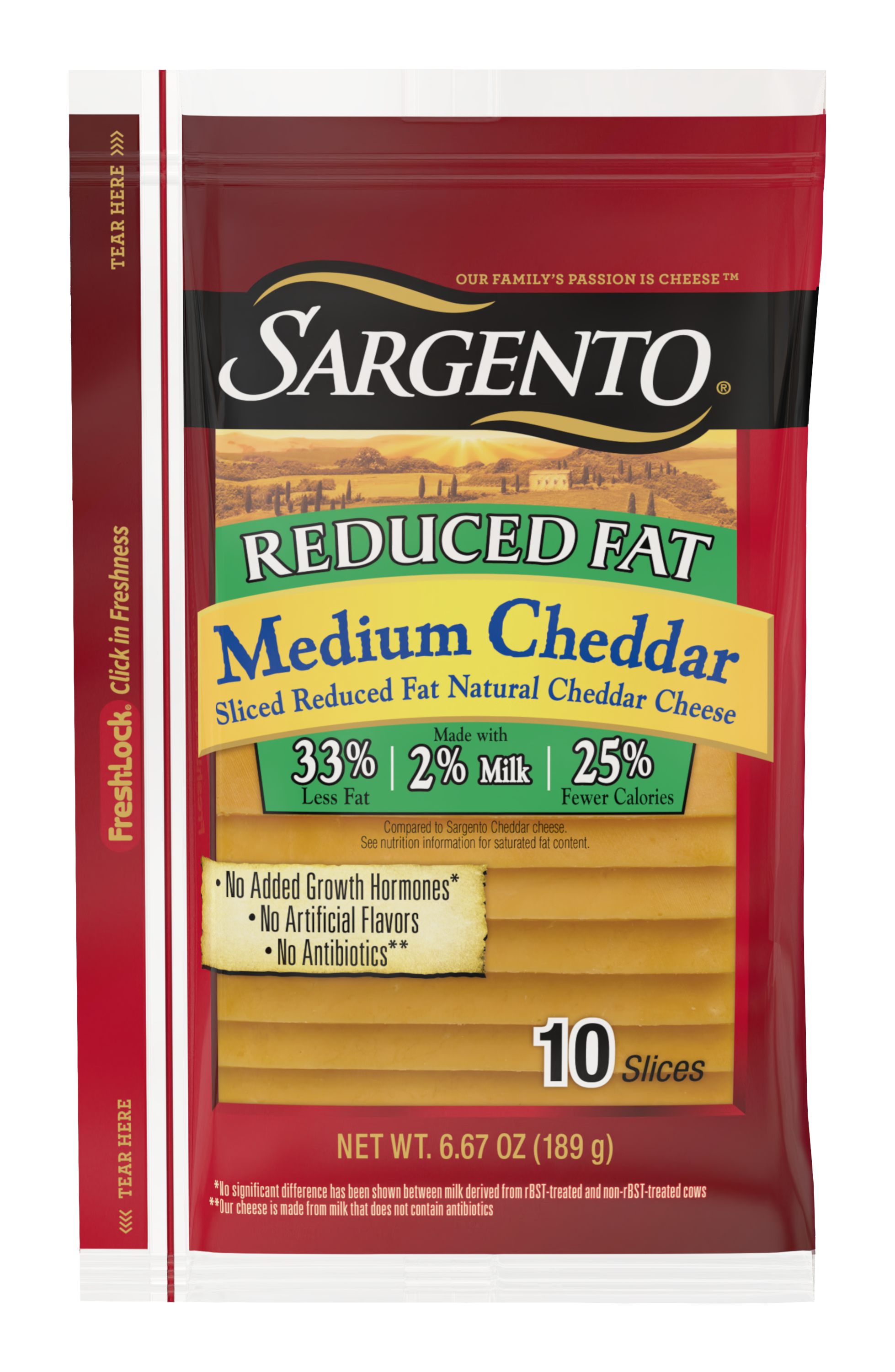 Sargento® Sliced Reduced Fat Medium Natural Cheddar Cheese
