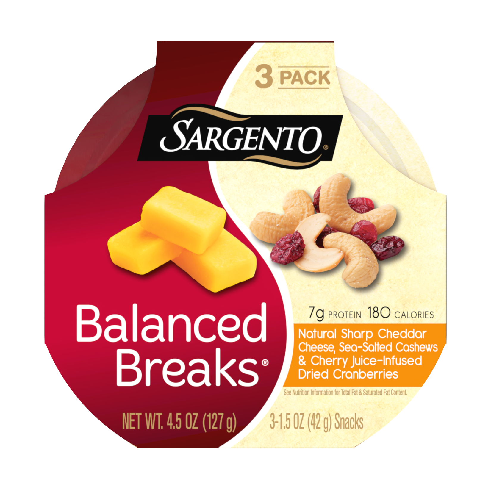 Sargento® Balanced Breaks®, Natural Sharp Cheddar Cheese, Sea-Salted Cashews and Cherry Juice-Infused Dried Cranberries
