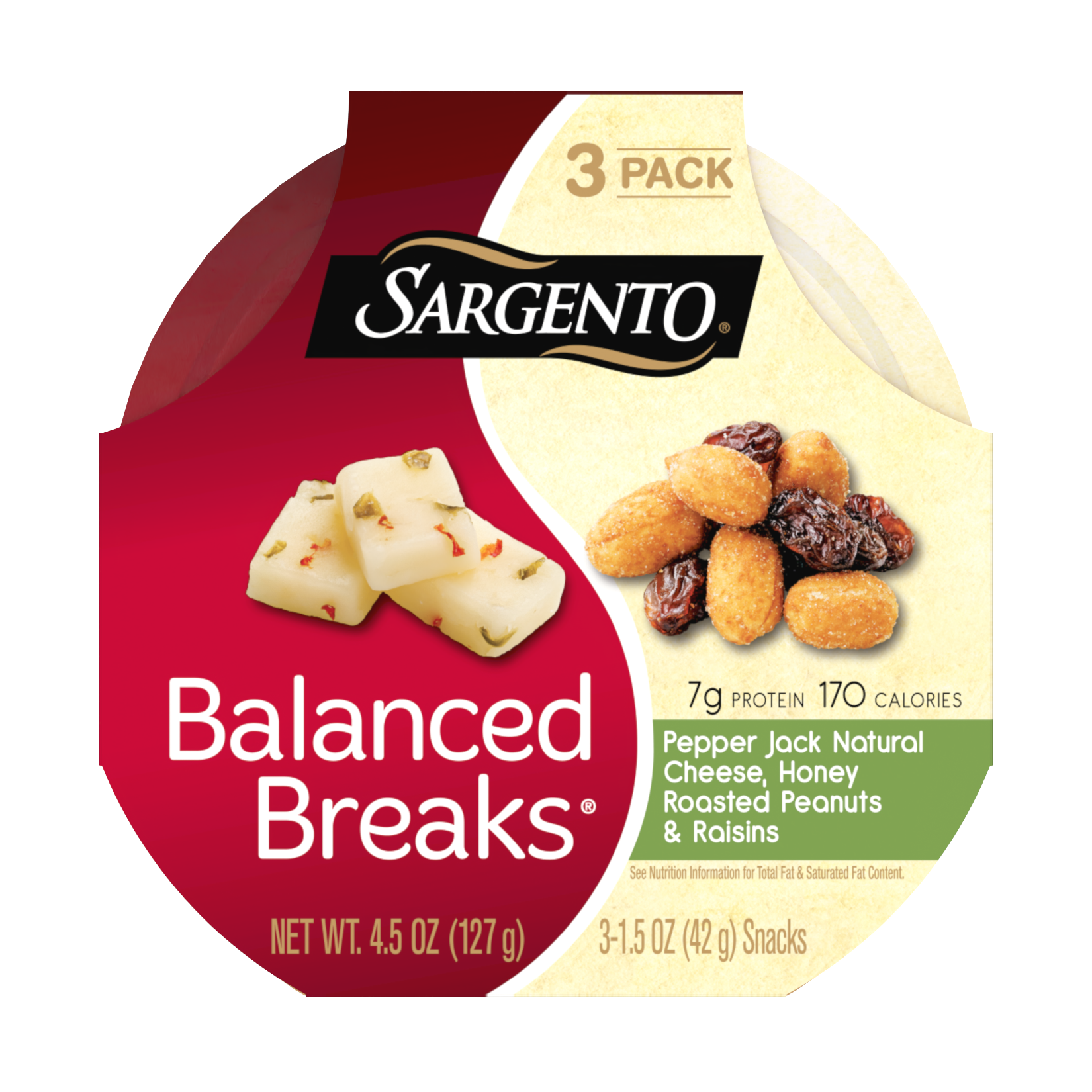 Sargento® Balanced Breaks®, Pepper Jack Natural Cheese, Honey Roasted Peanuts and Raisins