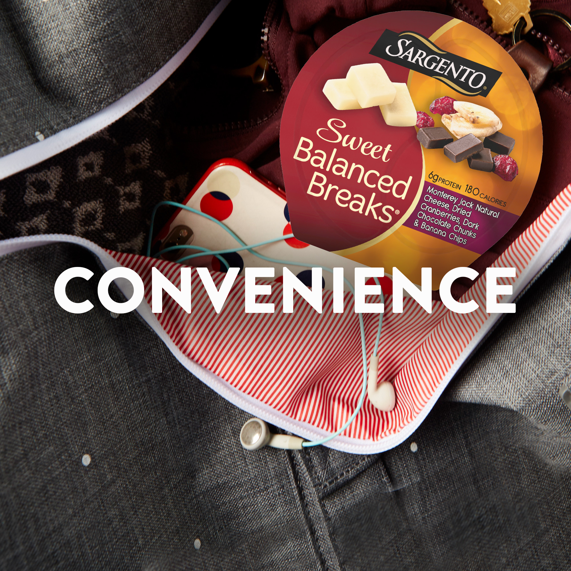 Sargento® Sweet Balanced Breaks®, Monterey Jack Natural Cheese, Dried Cranberries, Dark Chocolate Chunks & Banana Chips