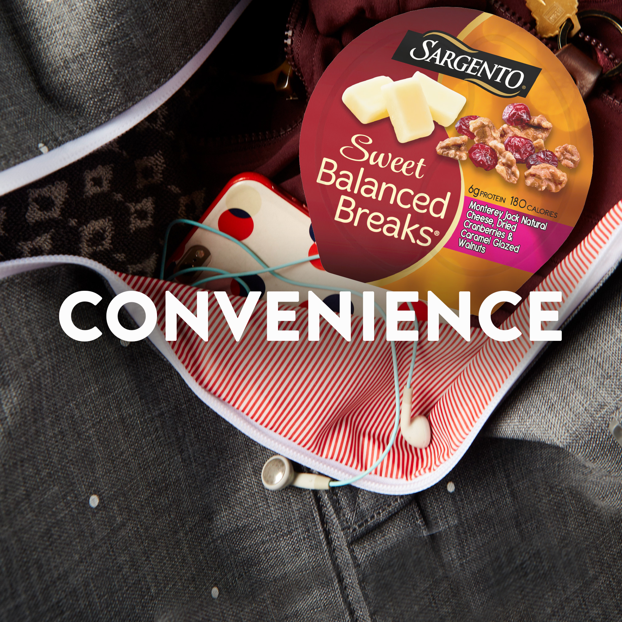 Sargento® Sweet Balanced Breaks® Monterey Jack Natural Cheese, Dried Cranberries and Caramel Glazed Walnuts
