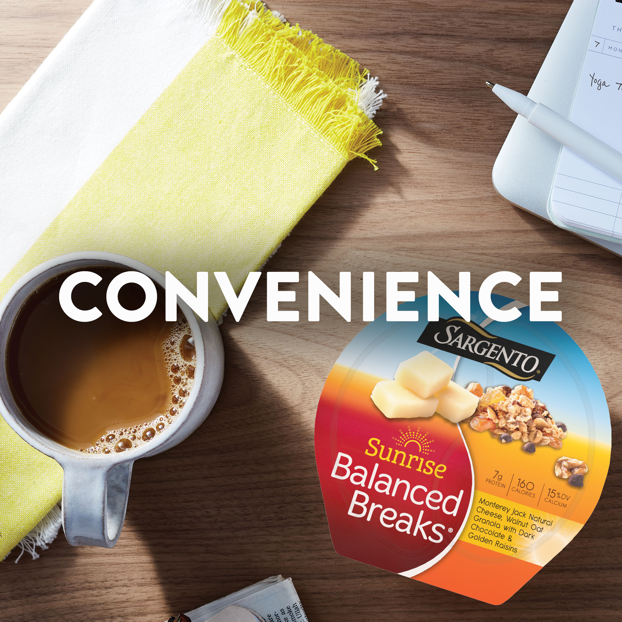 Sargento® Sunrise Balanced Breaks® Monterey Jack Natural Cheese, Walnut Oat Granola with Dark Chocolate, and Golden Raisins