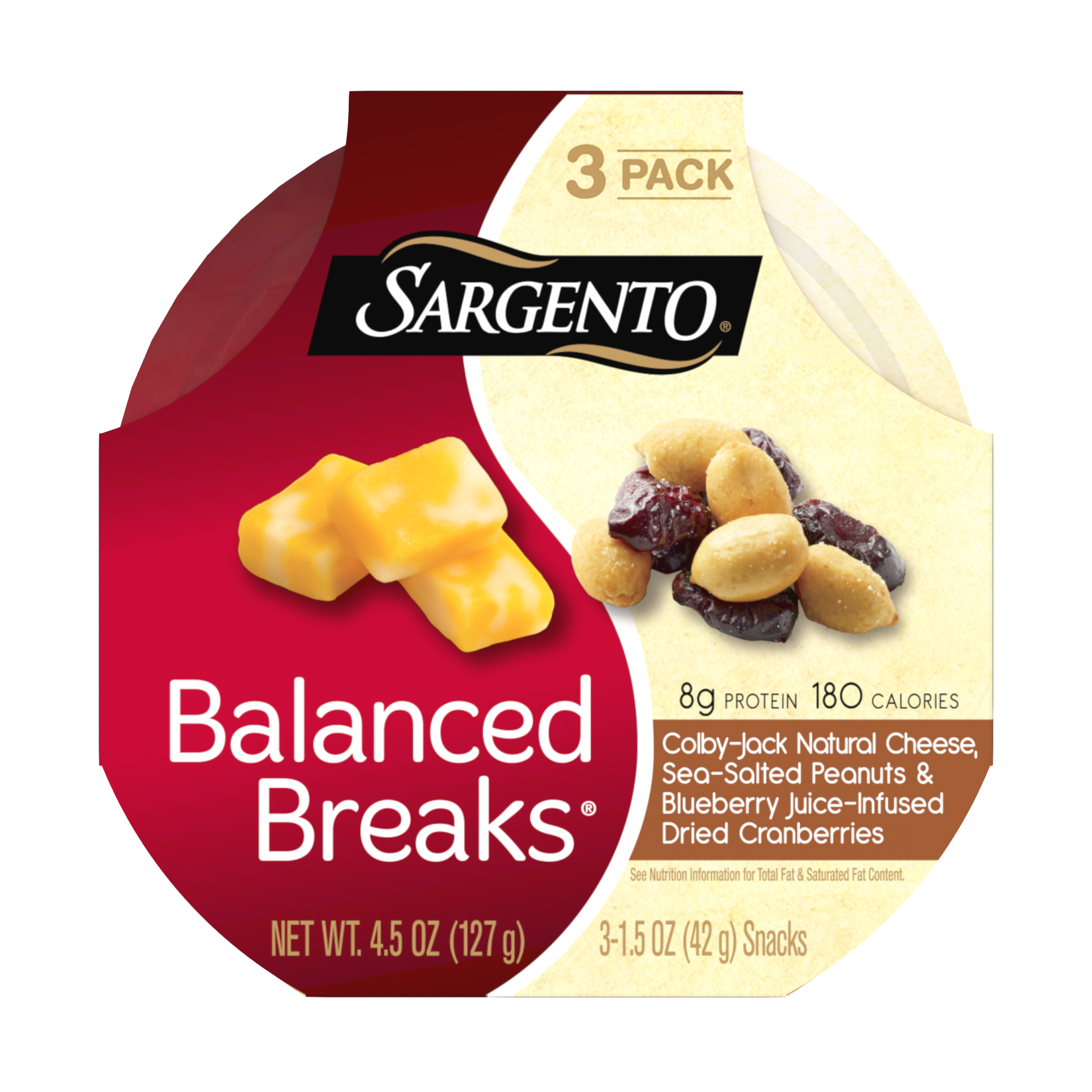 Sargento® Balanced Breaks®, Colby-Jack Natural Cheese, Sea-Salted Peanuts and Blueberry Juice-Infused Dried Cranberries