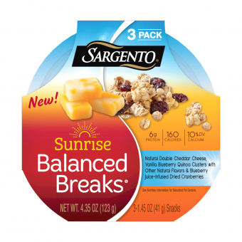 Sargento® Sunrise Balanced Breaks with Double Cheddar Cheese, Blueberry Juice-Infused Cranberries and Vanilla Blueberry Quinoa Clusters