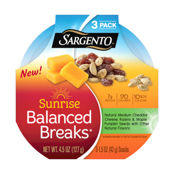 Sargento® Sunrise Balanced Breaks® with Medium Cheddar Cheese, Raisins and Maple-Flavored Pumpkin Seeds