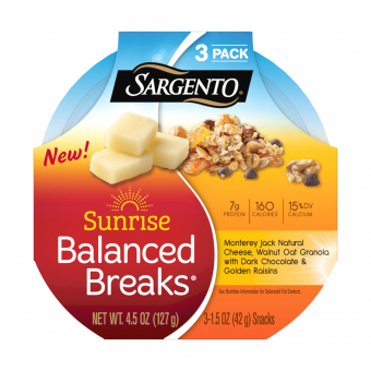 Sargento® Sunrise Balanced Breaks® with Monterey Jack Cheese, Walnut Oat Granola with Dark Chocolate, and Golden Raisins