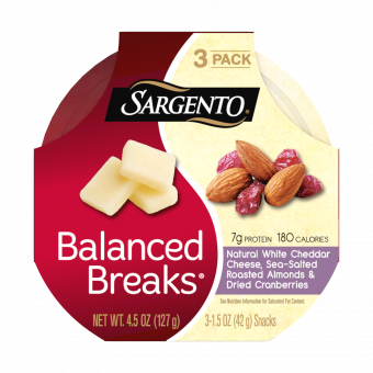 Sargento® Balanced Breaks®, Natural White Cheddar Cheese, Sea-Salted Roasted Almonds and Dried Cranberries