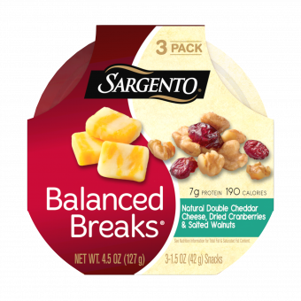 Sargento® Balanced Breaks®, Natural Double Cheddar Cheese, Dried Cranberries and Salted Walnuts