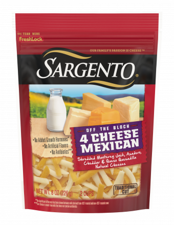 Sargento® Shredded 4 Cheese Mexican Natural Cheese, Traditional Cut