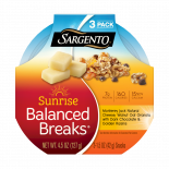 Sargento® Sunrise Balanced Breaks® Monterey Jack Natural Cheese, Walnut Oat Granola with Dark Chocolate, and Golden Raisins