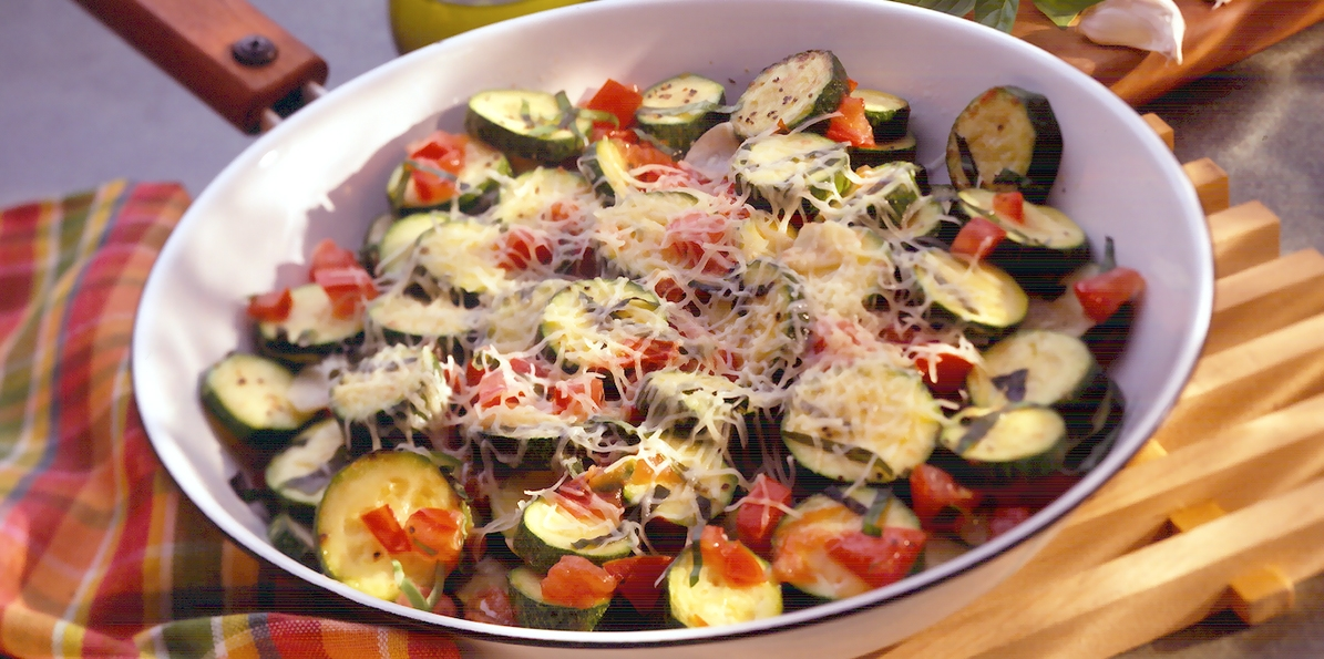 Sauteed Zucchini with Basil & Cheese