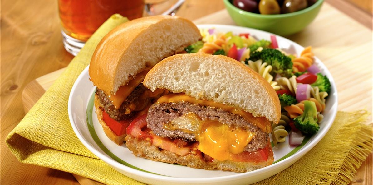 Cheddar and Garlic Stuffed Hamburgers
