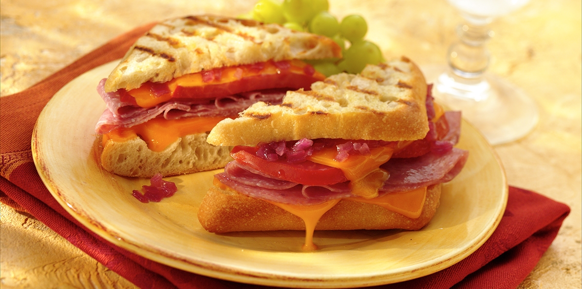 Cheddar Panini with Salami