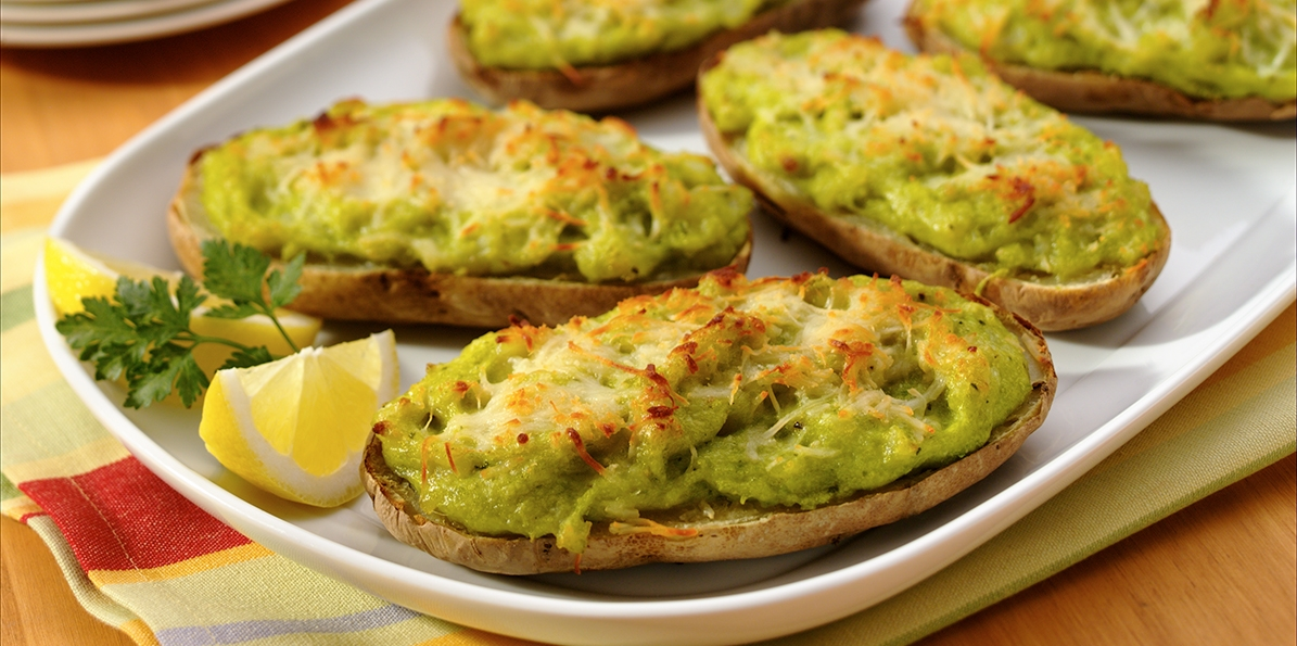 Twice-Baked Potatoes with English Peas