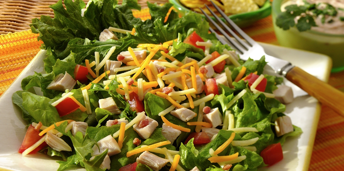 Tex-Mex Chicken, Greens, Cheddar, Bacon Salad