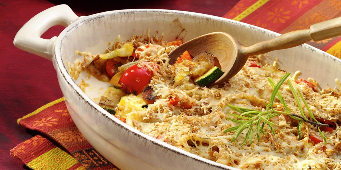 Farm Fresh Cheddar Vegetable Gratin