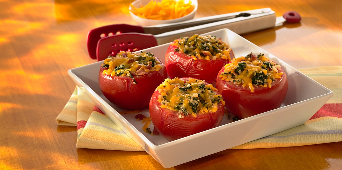 Bacon & Spinach Stuffed Tomatoes