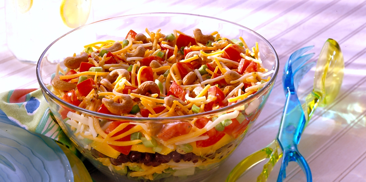 Caribbean Layered Cheddar Salad