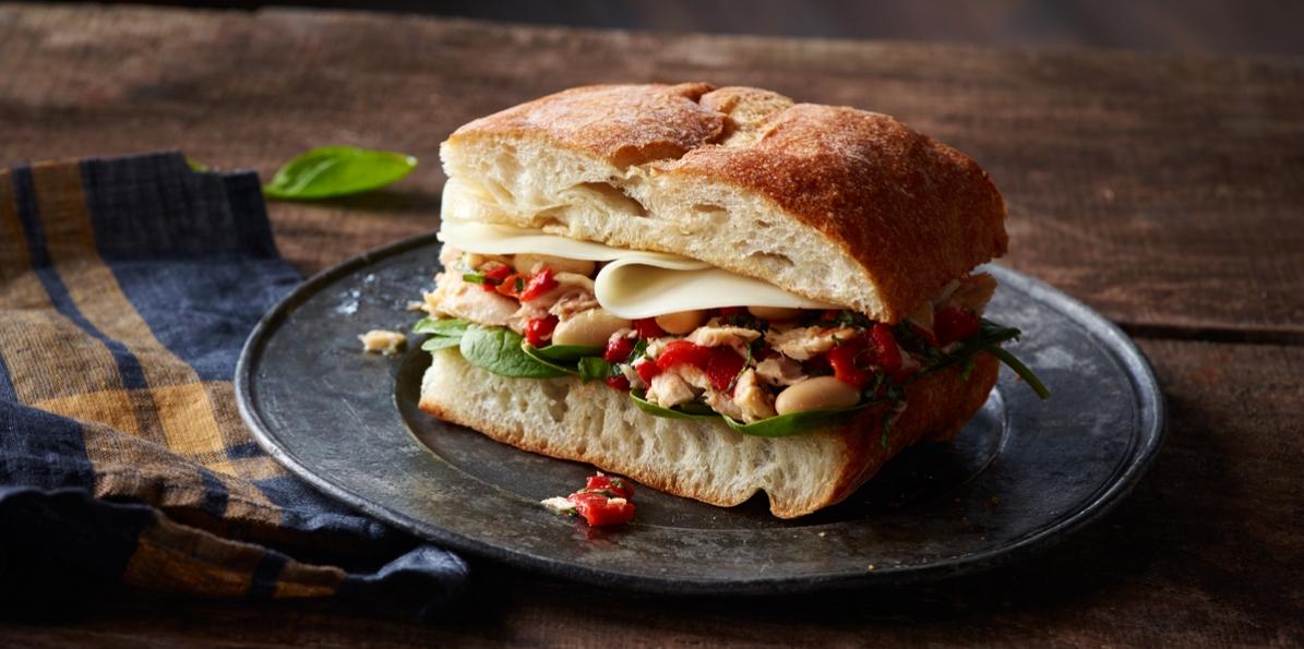 Italian Tuna, Spinach & White Bean Sandwiches