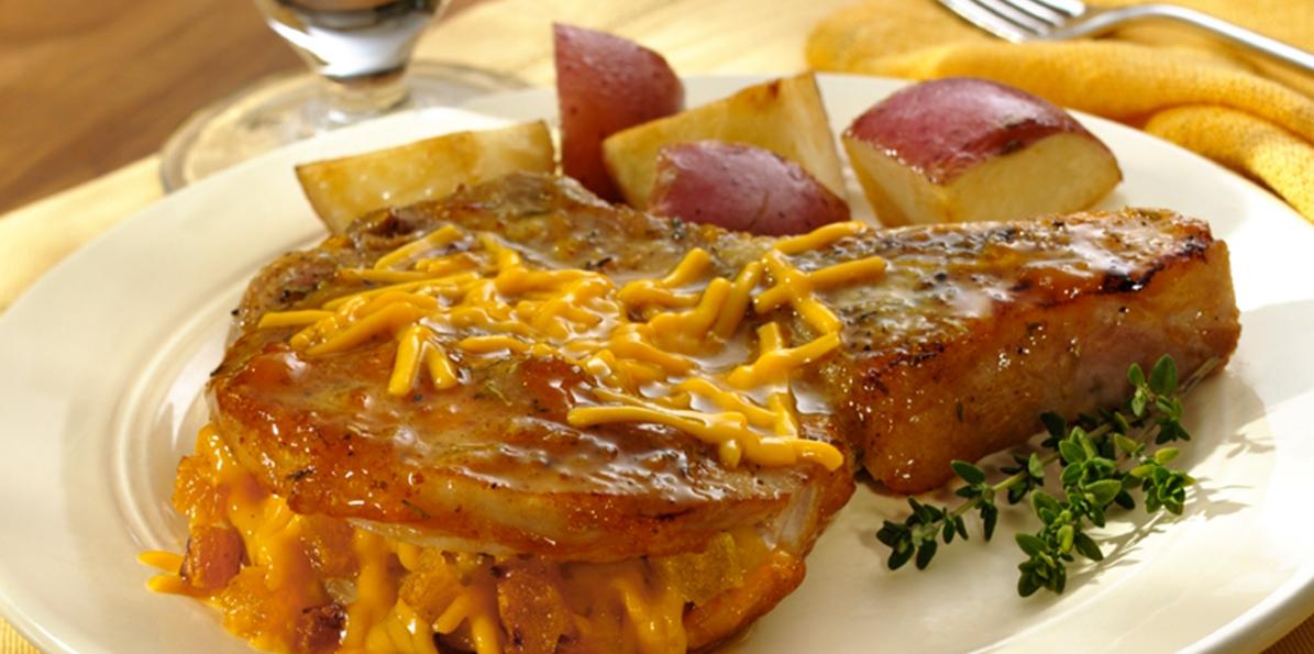Cheddar & Apricot Pork Chops