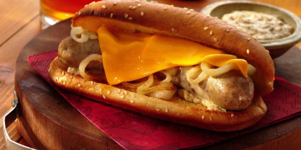 Wisconsin Cheddar, Bratwurst & Onion Hoagies