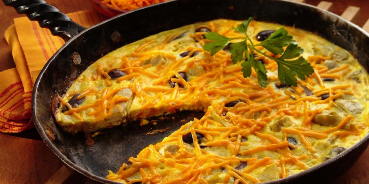 Cheddar, Olive & Artichoke Frittata