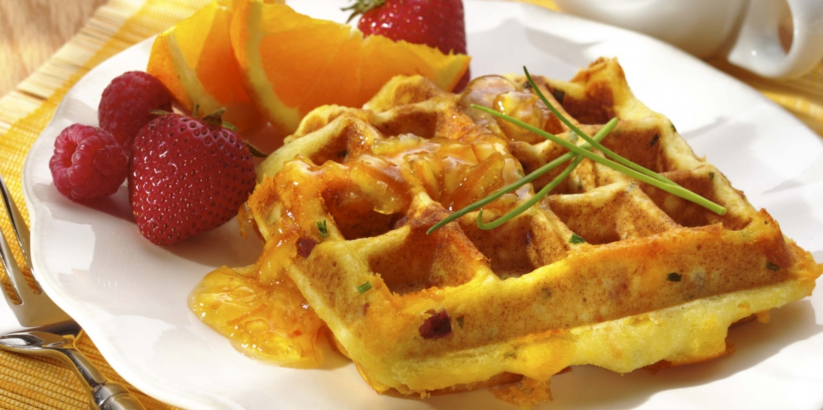 Cheddar & Ham Waffles