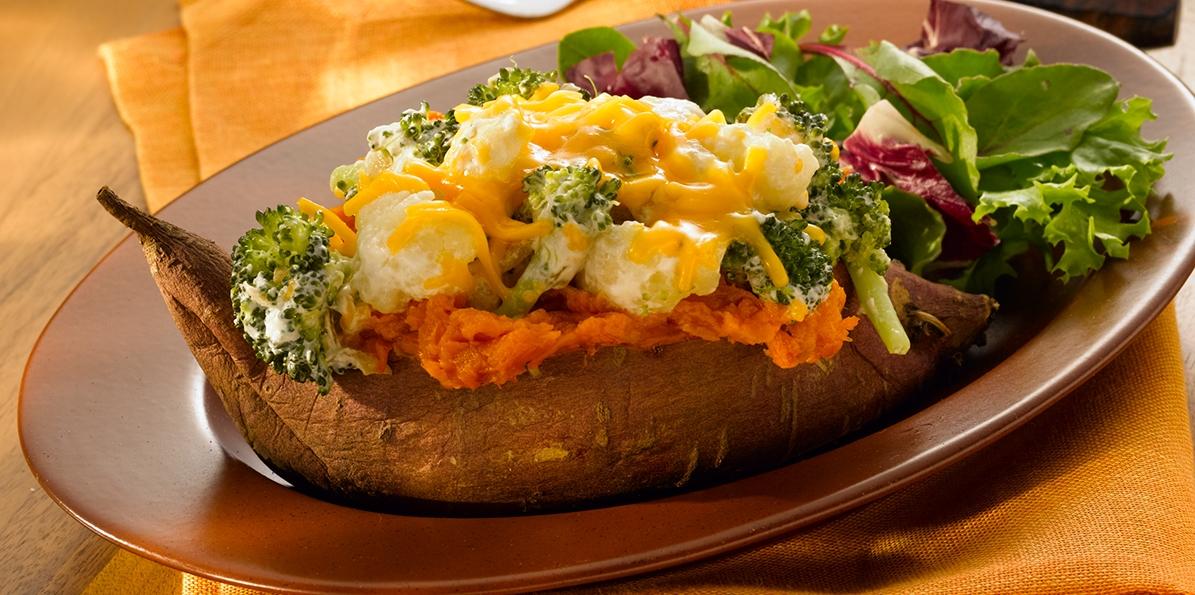 Cheddar & Veggie Sweet Potatoes