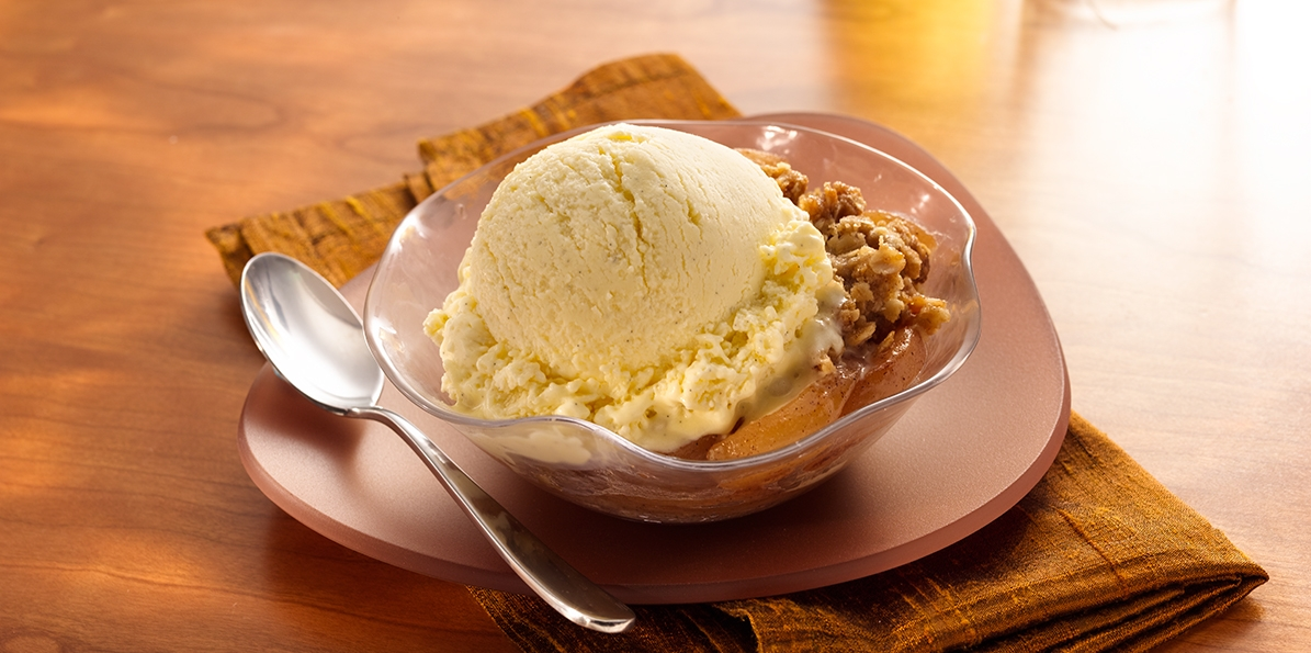 Roasted Pear Crumble with Ice Cream