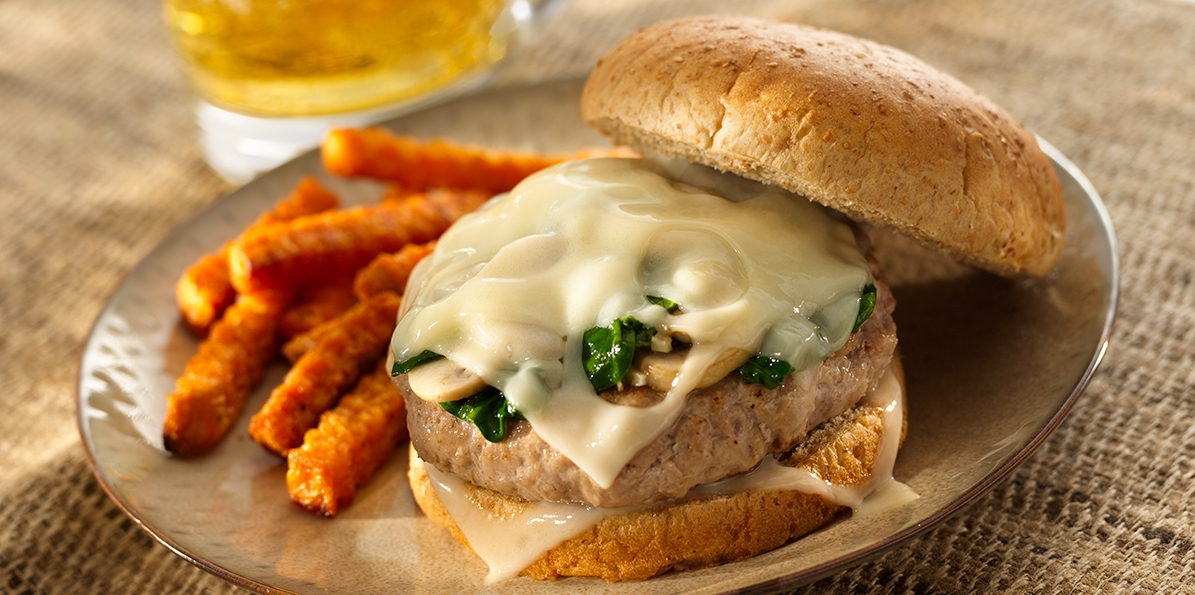 Grilled Swiss Turkey Burgers with Sautéed Spinach