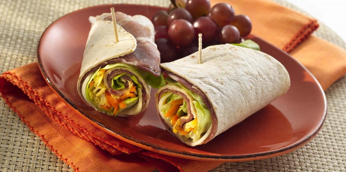 Provolone, Prosciutto & Veggie Wraps