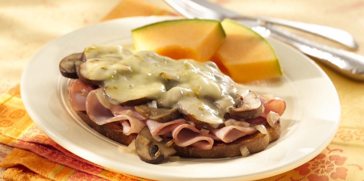 Mushroom, Ham & Cheese Sandwiches
