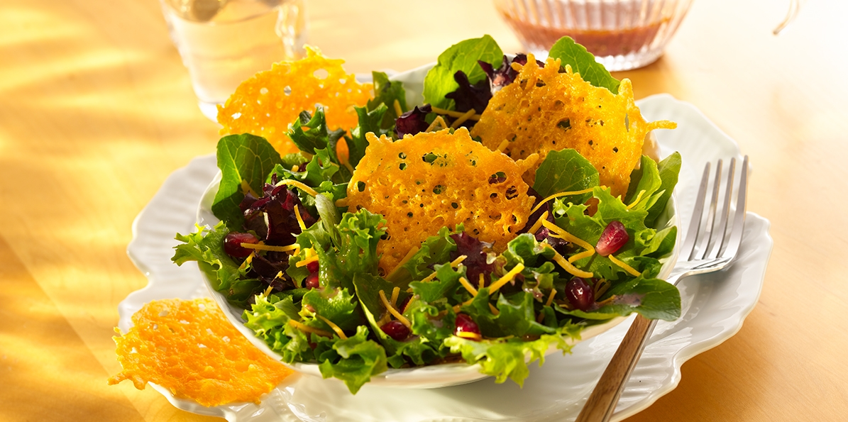 Pomegranate Salad & Cheddar Crisps
