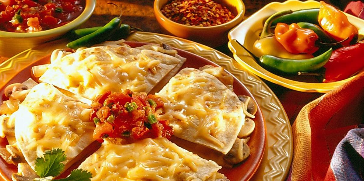 Spicy Cheese & Mushroom Quesadillas