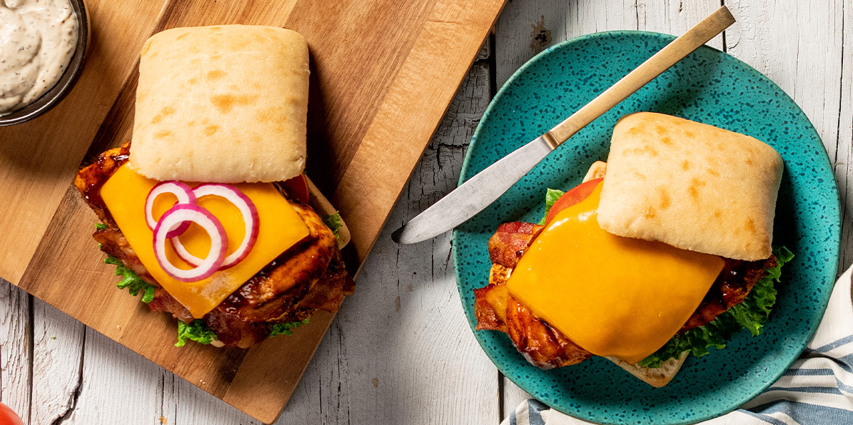 Grilled BBQ Cheese & Bacon Stuffed Chicken Sandwich
