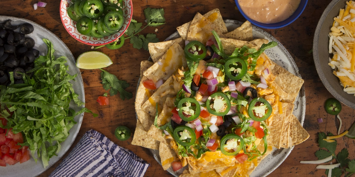 Cheesy Firecracker Chicken Nachos