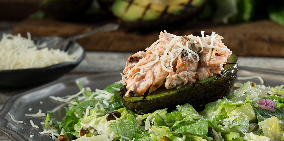 Grilled Avocado & Salmon Salad