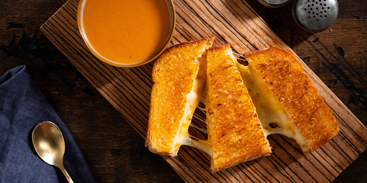 Kicked Up Grilled Cheese with Roasted Quesomato Soup
