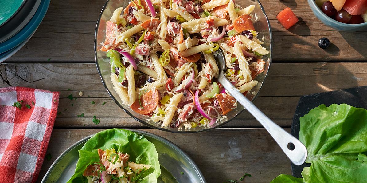Muffaletta Salad with Shredded 6 Cheese Italian