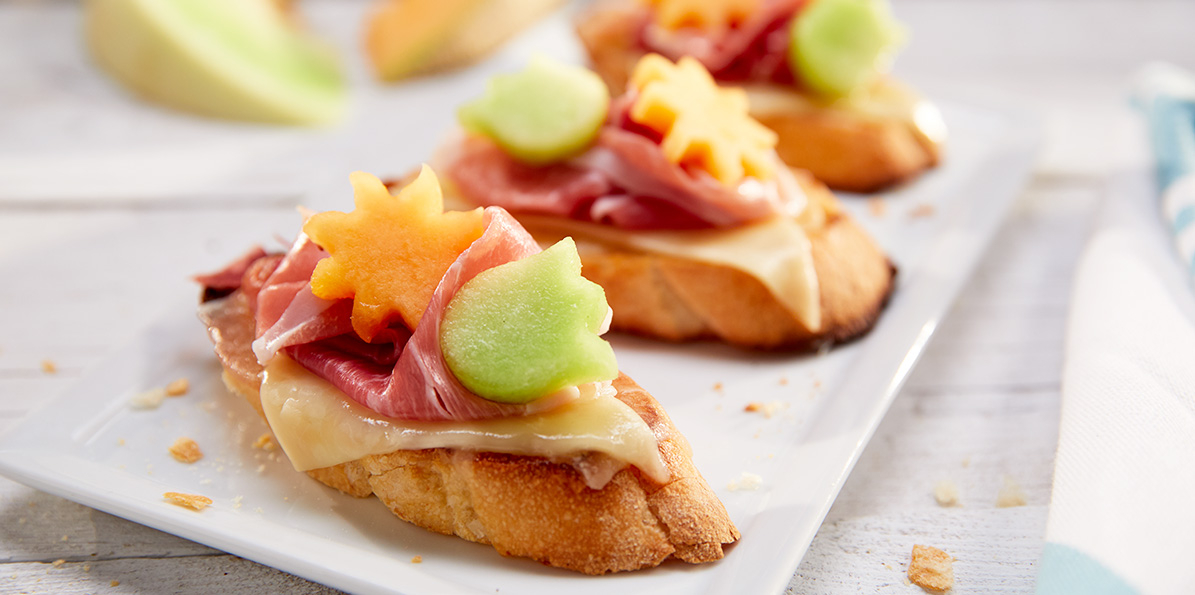 Prosciutto Melon Crostini on a toasted Baguette