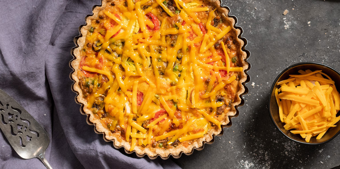 Spring Vegetable and Cheddar Quiche
