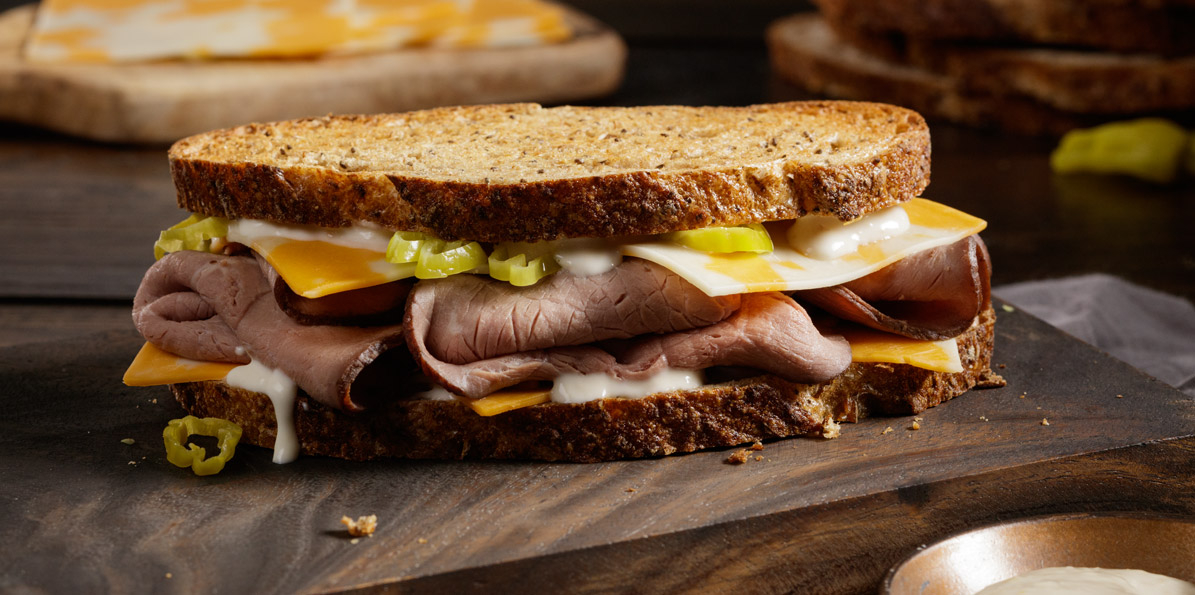 Roast Beef sandwich with 2 Cheese Sharp Cheddar Jack