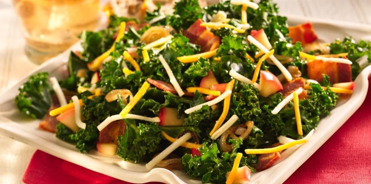 Sautéed Kale with Bacon, Apple, and Cheddar
